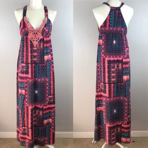 BEBE Pink Tropical Maxi Dress Medium